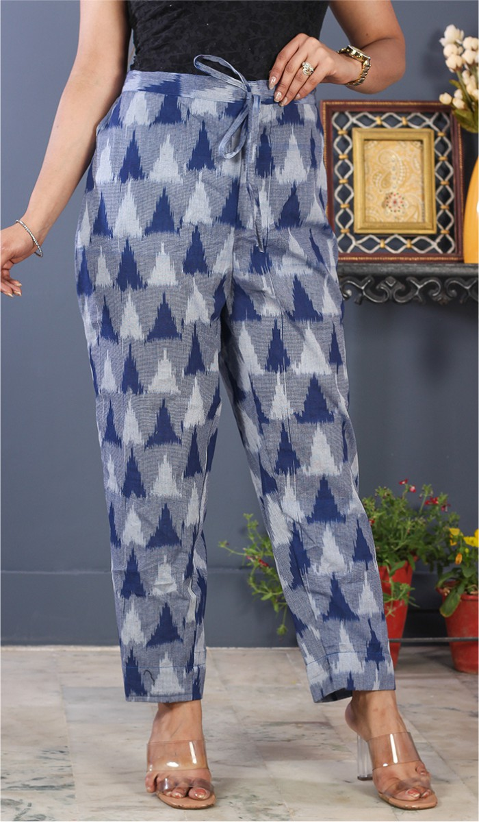 Gray Blue and White Cotton Ikat Ankle Women Pant-34685