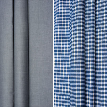 Combo Set Shirt and Trouser-Gray Blue and White-42097