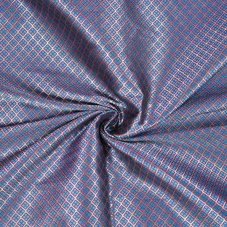 Gray Brown Brocade Silk Polka Fabric-12972