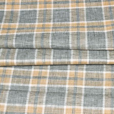 Gray Brown Checks Handloom Cotton Fabric-42496
