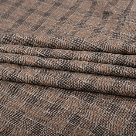 Pure Wool Blazer Fabric (2 MTR)  - Gray-Brown and Black Tweed Wool-40323