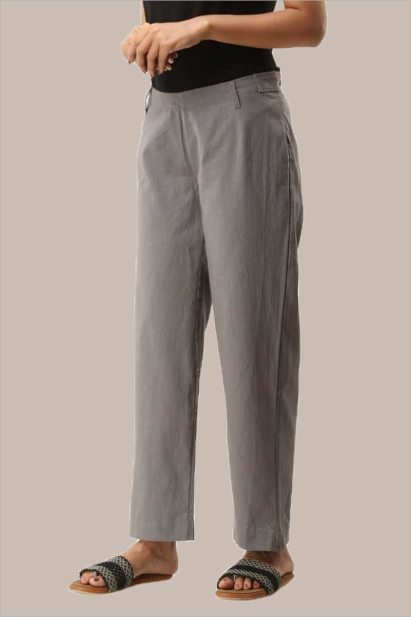 Gray Cotton Ankle Length Pant-33717