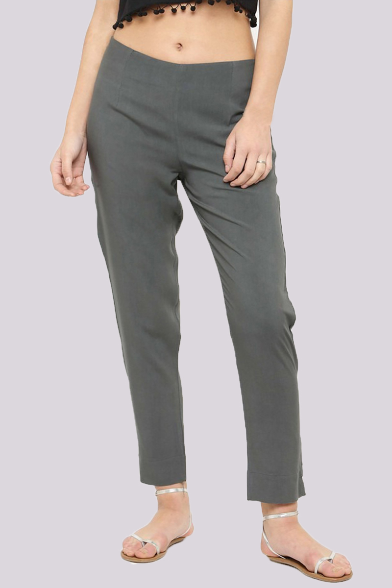 Gray Cotton Flex Pant with Side Chain and Pocket-33396