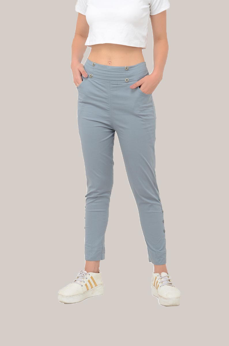 Gray Cotton Lycra Roll Up Pant-33495