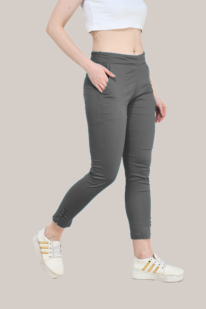 Gray Cotton Lycra Trippy Pant-33508