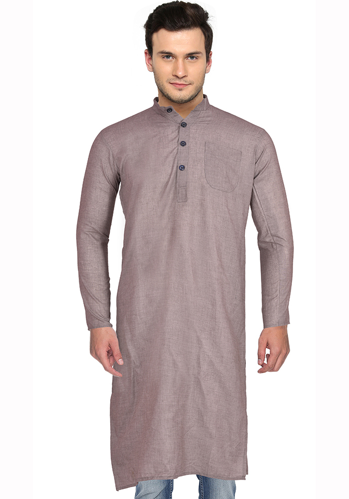 Gray Cotton Plain Handloom Khadi Long Kurta-33156