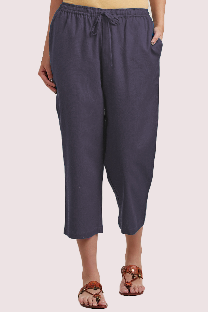 Gray Cotton Solid Women Culottes-33854