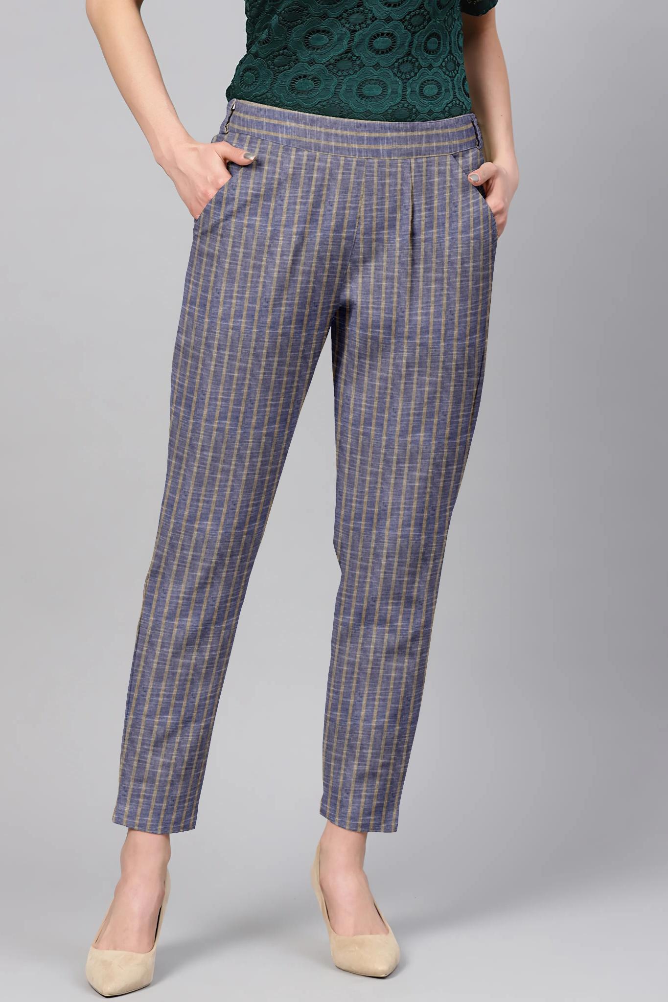 Gray Cream Cotton Stripe Regular Fit Solid Trouser-36104