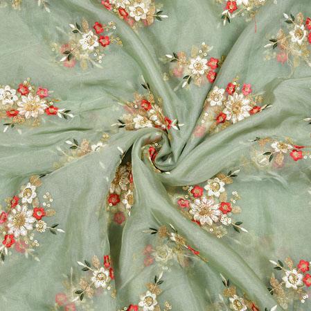 Gray Cream Flower Organza Embroidery Fabric-22249