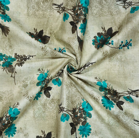 Gray Cyan Floral Cotton Print Fabric-28179