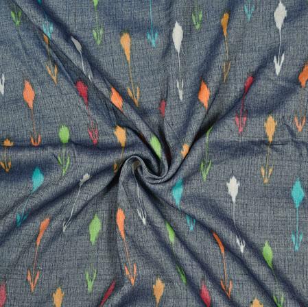 Gray Cyan and Yellow Ikat Cotton Flex Fabric-28185