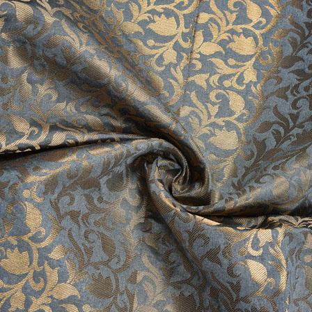 Gray Golden Floral Chanderi Zari Silk Fabric-12235