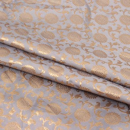 Gray Golden Flower Brocade Silk Fabric-9072