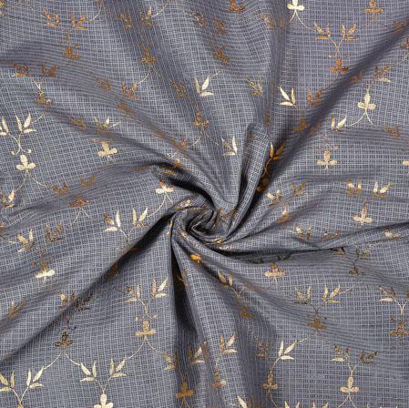 Gray Golden Flower Foil Work Kota Doria Fabric-42583
