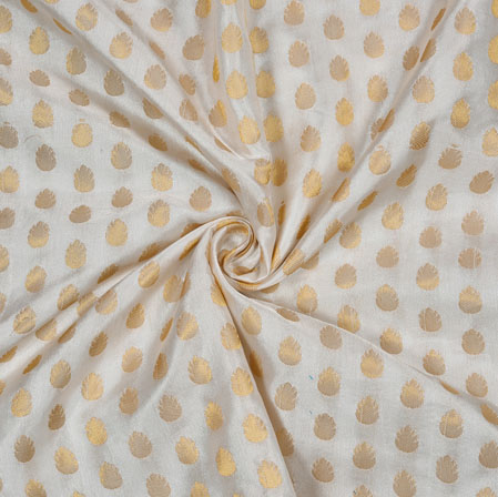 Gray Golden Leaf Satin Brocade Fabric-12849