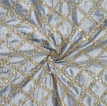 Gray Golden Embroidery Silk Paper Fabric-18619
