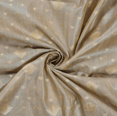 Gray Golden Polka Flower Burbari Jacquard Fabric-28308