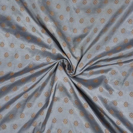 Gray Golden Polka Satin Brocade Silk Fabric-12683