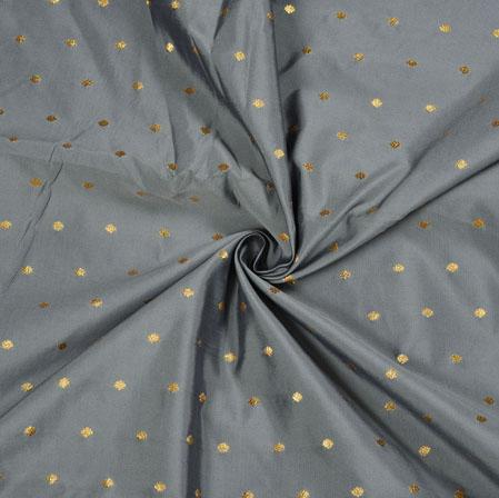 Gray Golden Polka Zari Taffeta Silk Fabric-12649