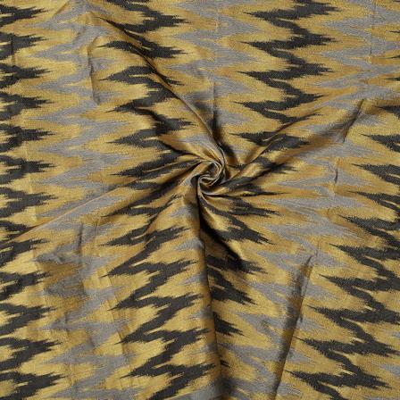 Gray-Golden and Black Zig Zag Design Brocade Silk Fabric-8491
