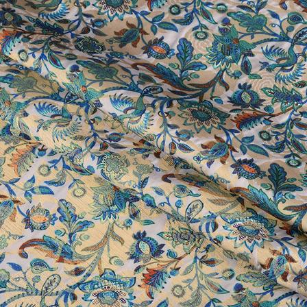 Gray-Golden and Green Flower Digital Brocade Fabric-24113