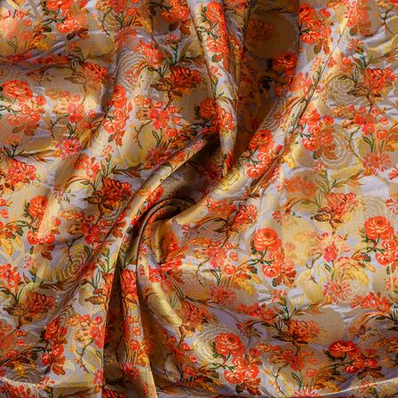 Gray-Golden and Orange Digital Brocade Fabric-24106