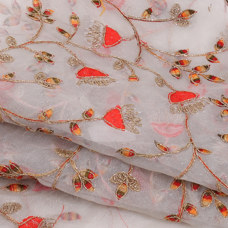 Gray-Golden and Orange Organza Embroidery Fabric-51437
