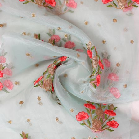 Gray Golden and Red Floral Embroidery Organza Silk Fabric-51700