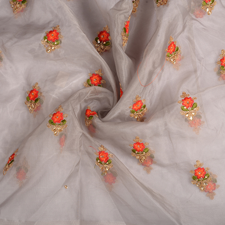 Gray-Golden and Red Flower Organza Embroidery Fabric-51169