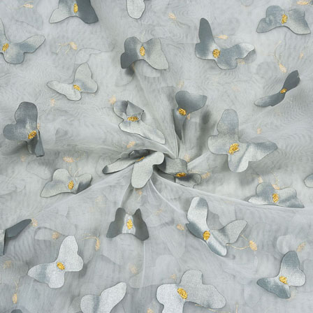Gray Gray Net Butterfly Embroidery Fabric-18776
