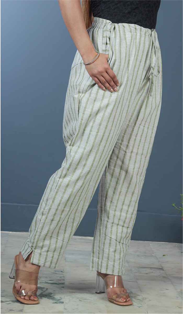 Gray Green Cotton Stripe Pant-35189