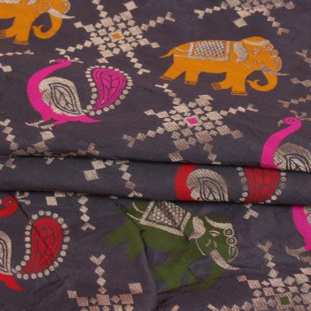 Gray Green and Pink Animal Digital Banarasi Silk Fabric-9218