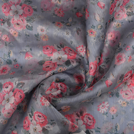 Gray-Green and Pink Floral Organza Digital print Fabric-51366