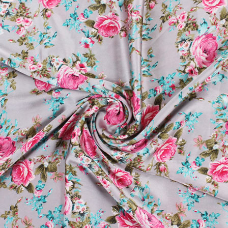 Gray Green and Pink Flower Japan Satin Fabric-18192