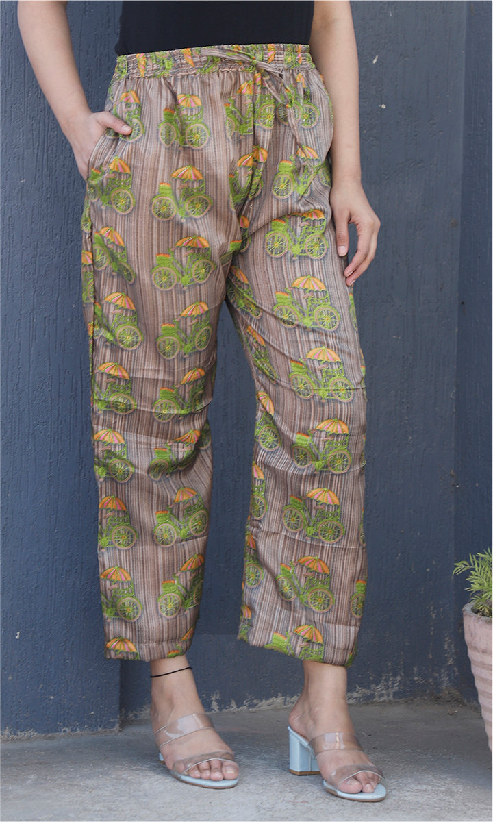 Gray Green and Yellow Manipuri Silk Cycle Palazzo Pant-34493