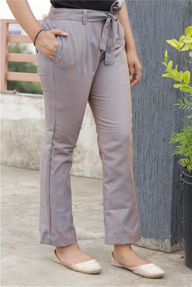 Gray Handloom Cotton 2 Tone Narrow Pant with Belt-33898