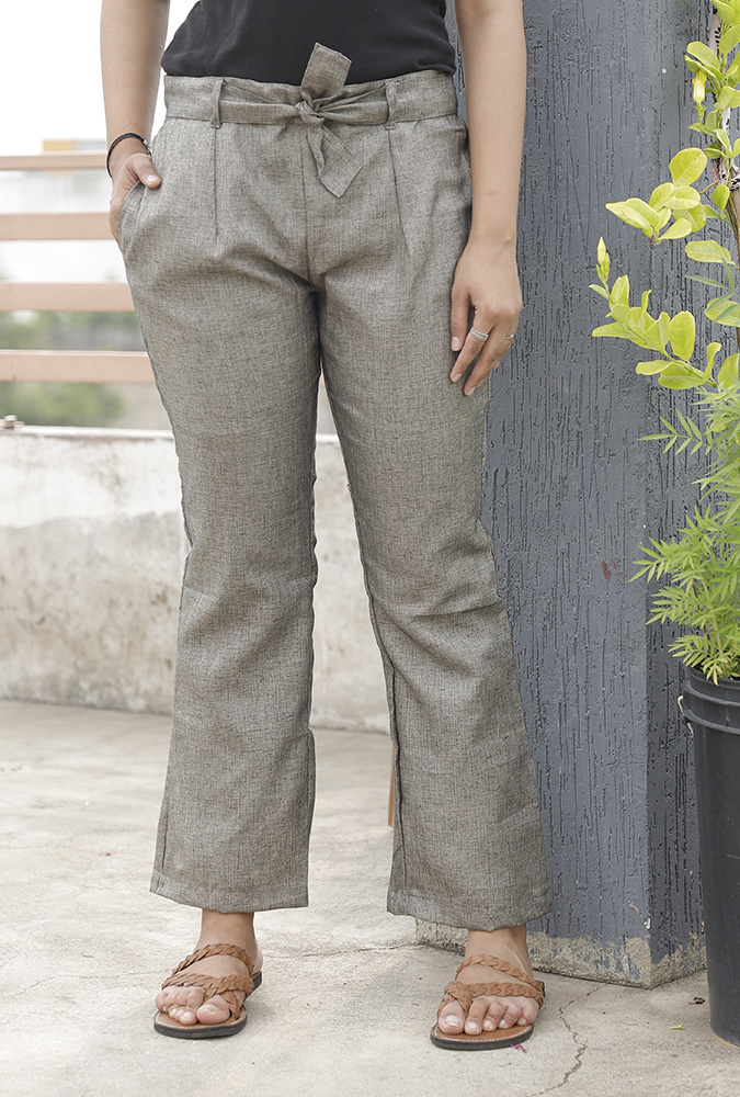 Gray Handloom Cotton Texture Narrow Pant with Belt-33907