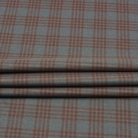 Gray Maroon Check Wool Fabric-90112