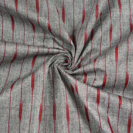 Gray Maroon Ikat Cotton Fabric-11112