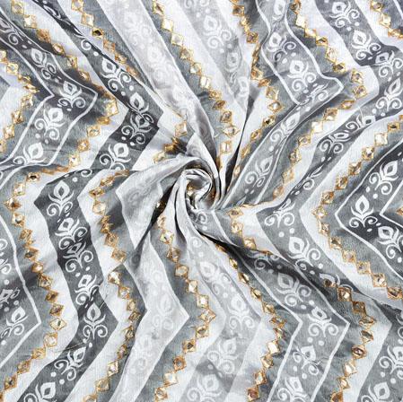 Gray MultiColor Digital Position Print Chinon Embroidery Fabric-19305