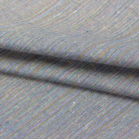 Cotton Shirt (2.25 Meter)-Gray Multicolor Stripes Handloom-140665