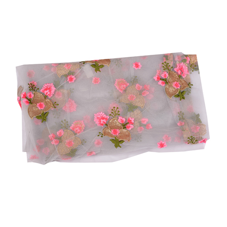Gray Net Base Fabric With Golden and Pink Floral Embroidery-60497