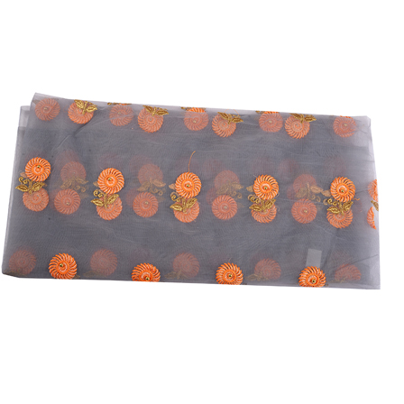 Gray Net Fabric With Orange and Golden Flower Embroidery-60542