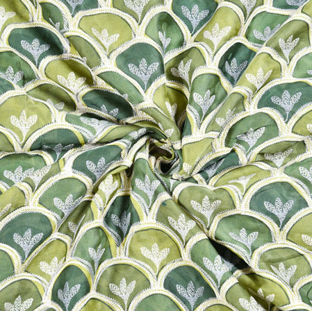 Gray Olive Green Digital Position Print Chinon Embroidery Fabric-19313