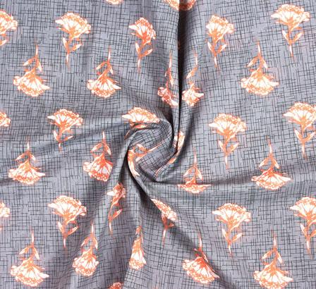Gray Orange Block Print Cotton Fabric-14804
