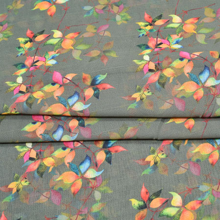 Gray Orange Digital Flower Print Georgette Fabric-41181