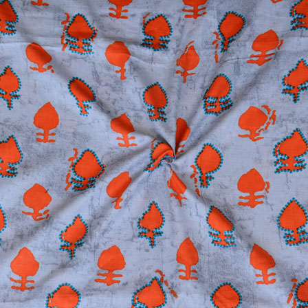 Gray Orange Floral Print Glazed Cotton Fabric-15209