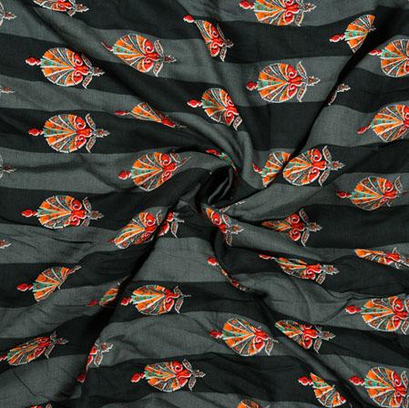 Gray Orange Flower Cotton Print Fabric-28359