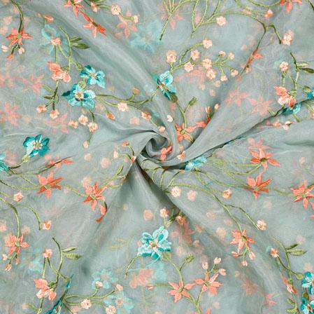 Gray Orange Flower Organza Embroidery Fabric-22245