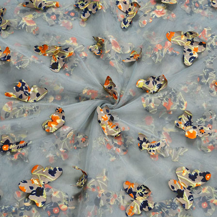 Gray Orange Net Butterfly Embroidery Fabric-18804